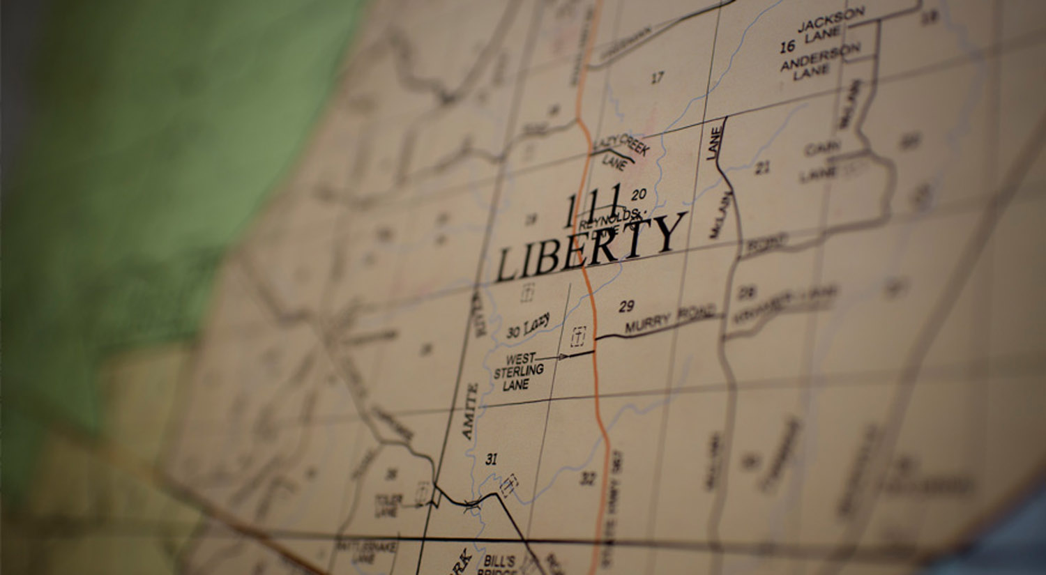 Map shows Liberty, Mississippi