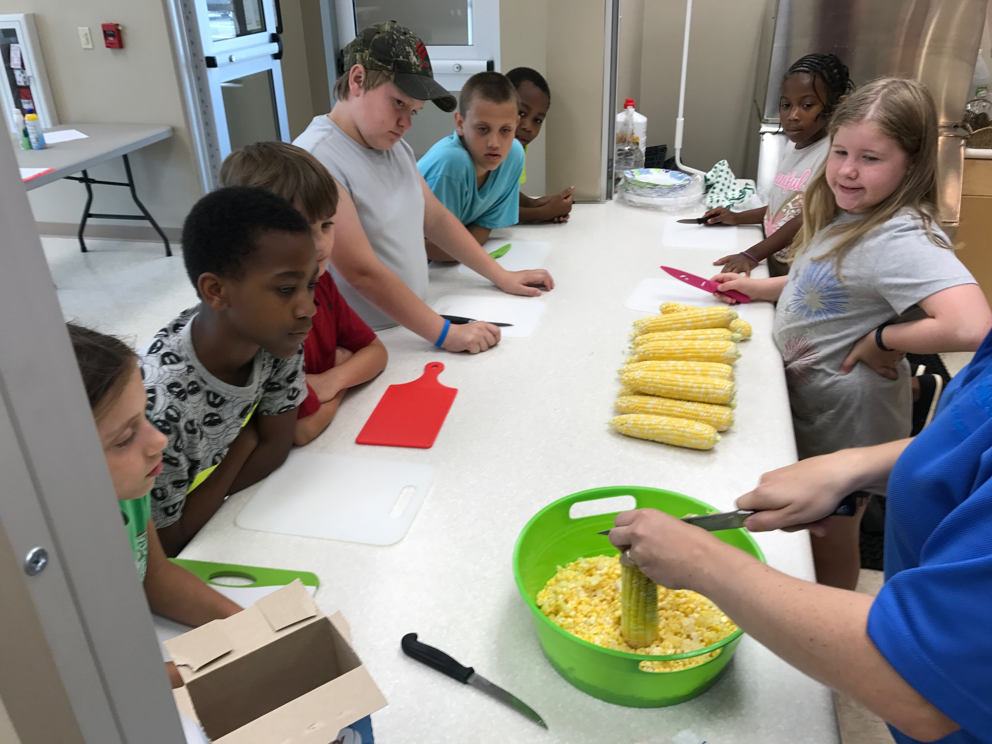 Children watch as an adult cuts corn kernels from the ear.