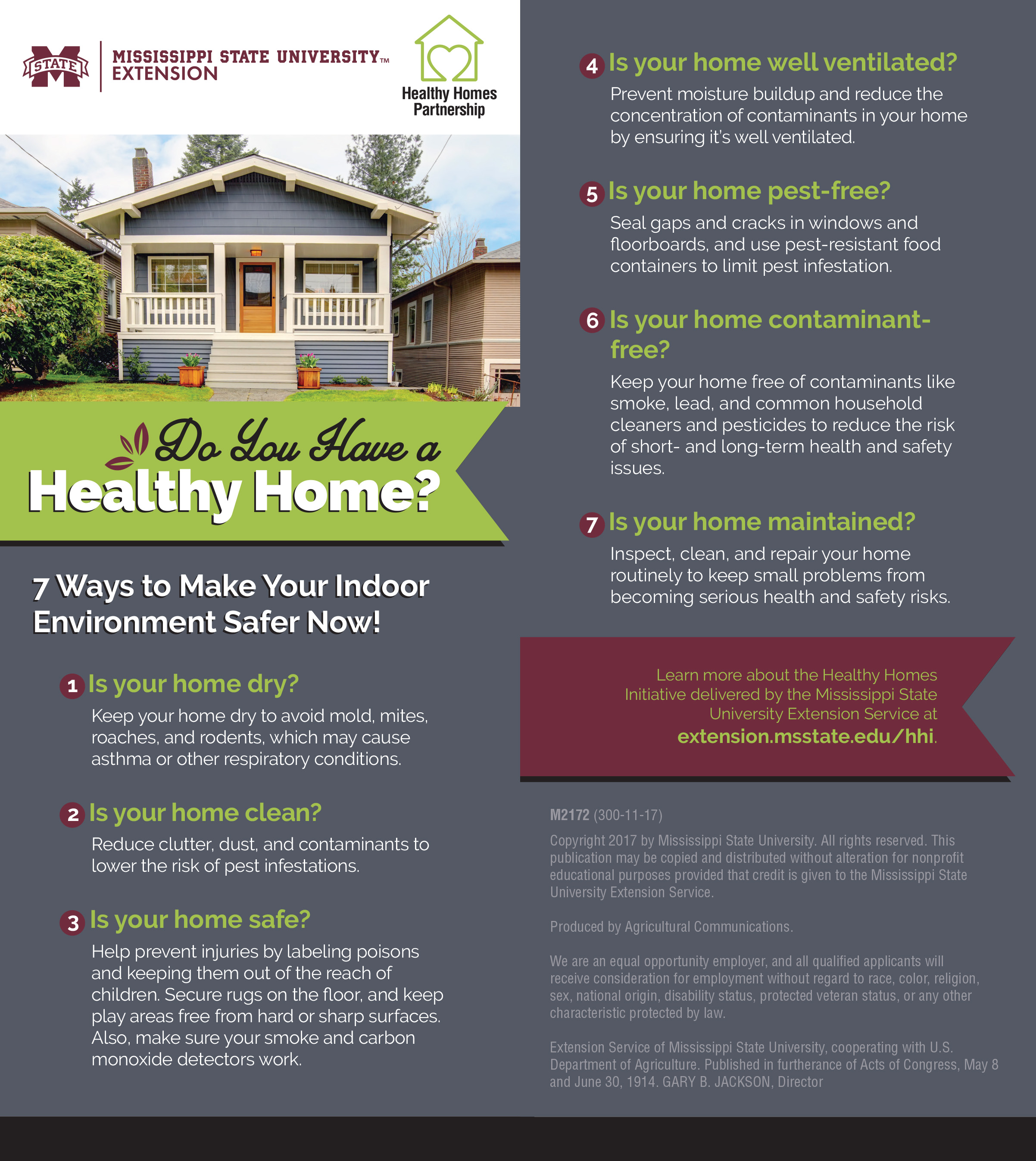 Photo of a gray and white Craftsman style house illustrates a list of seven tips for making homes healthier.