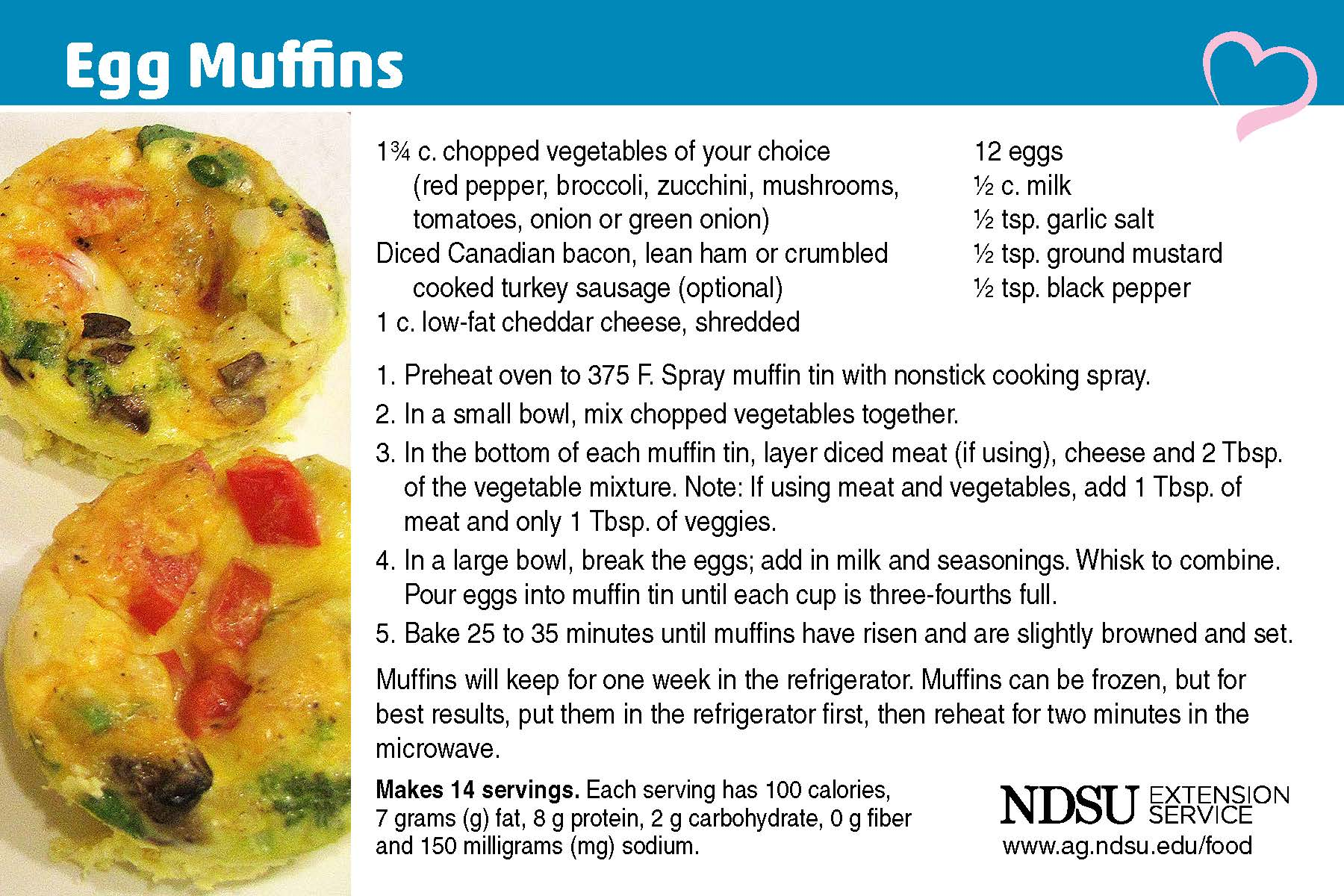 recipe card for Egg muffins.