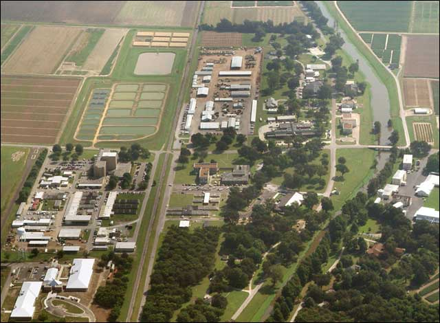 Aerial view of Delta Research and Extension Center.