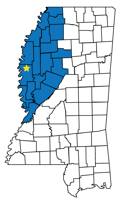 A Mississippi map showing counties of the Delta region in blue.
