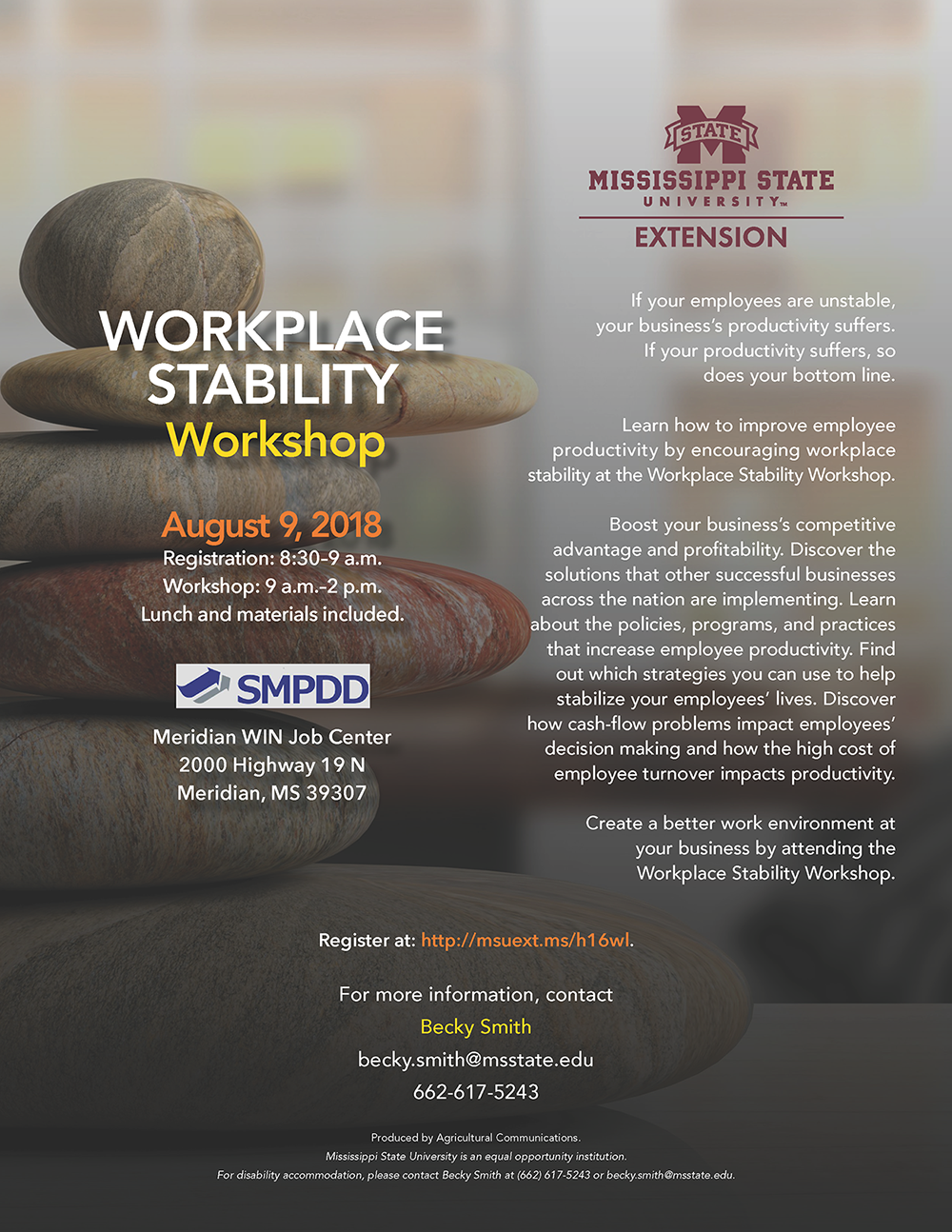 Workplace Stability Workshop flyer - August 9, 2018