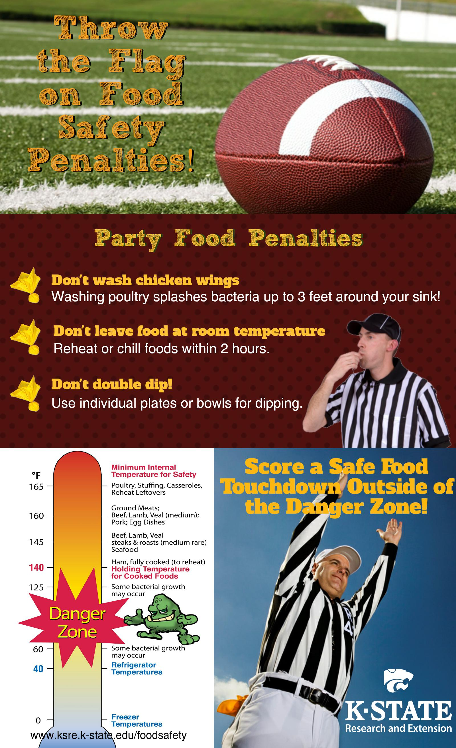A football referee in a black and white striped shirt blows a whistle while another raises his arms to signal a touchdown. These photos illustrate food safety tips appropriate for Superbowl parties. Another illustration uses a thermometer to depict the proper freezing, refrigeration, cooking and holding temperatures for food.