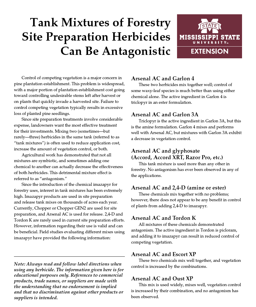 Tank Mixtures of Forestry Site Preparation Herbicides Can Be