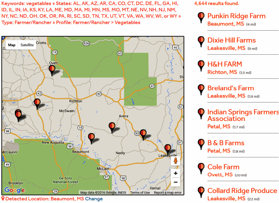 This image shows the number and location of vegetable farms registered in MarketMaker in Mississippi.