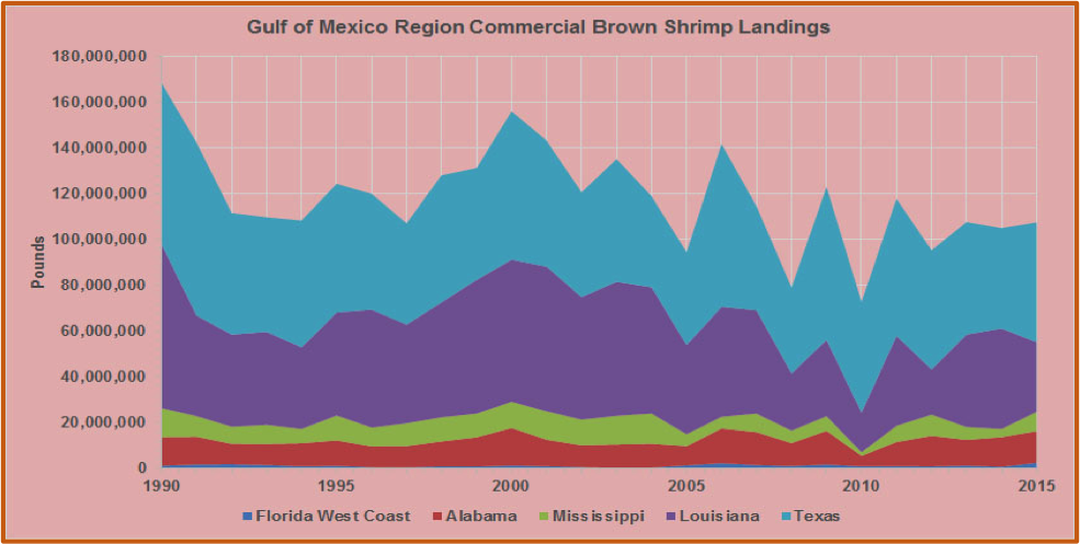 Fig. 3. Annual brown shrimp commercial landings in the Gulf of Mexico Region by Producing State. Source of raw data: NOAA Fisheries (http://www.st.nmfs.noaa.gov/).