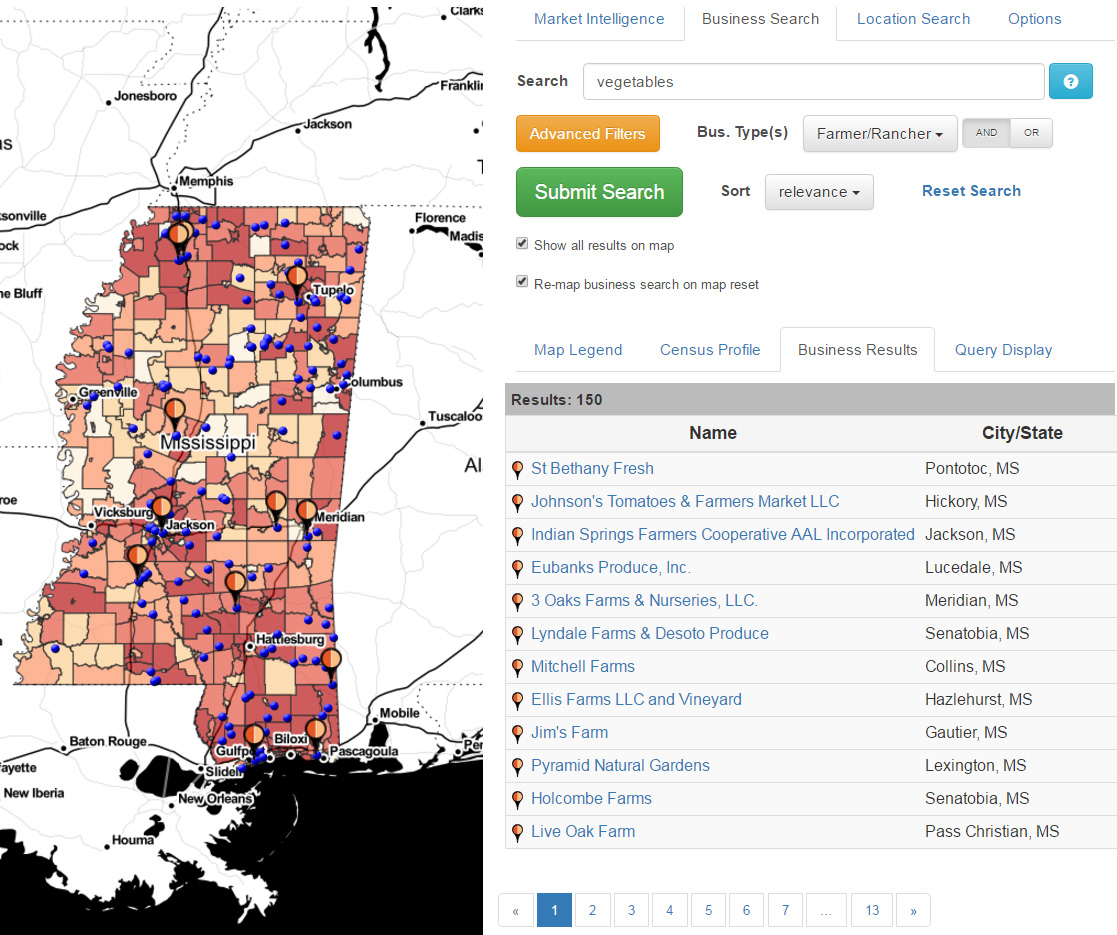This image shows the mapping results of MarketMaker Business Search Tool using the beta version of Market Research.