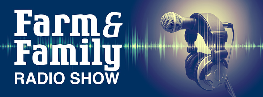 Farm and Family Radio Show. Microphone and headphones with audio waveform.