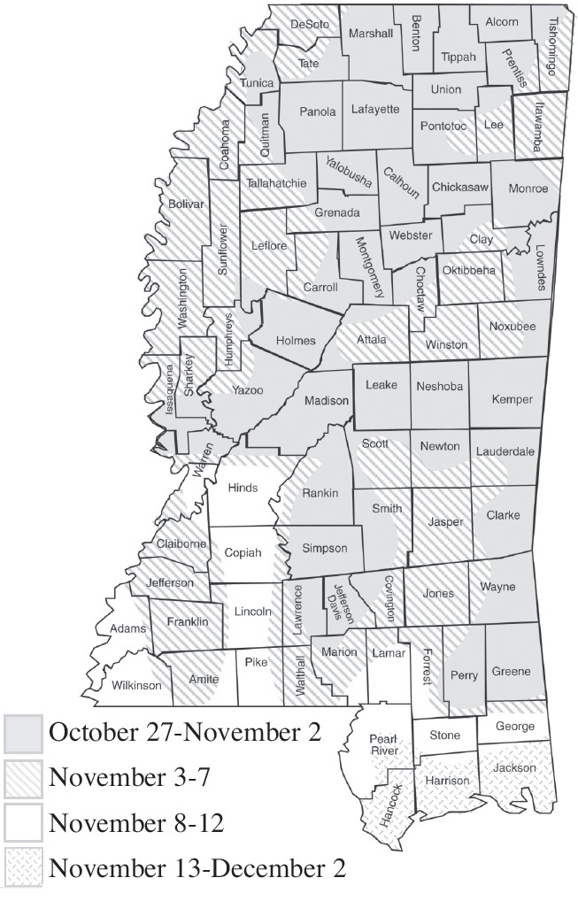 A map of the state showing first frost zones