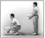 The image shows the a man lifting a box with his knees bent and his back straight.