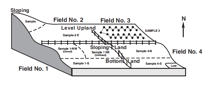 This diagram shows the sloping of a field.