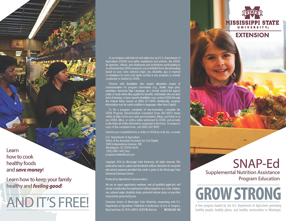 The brochure for the Grow Strong SNAP-Ed brochure.