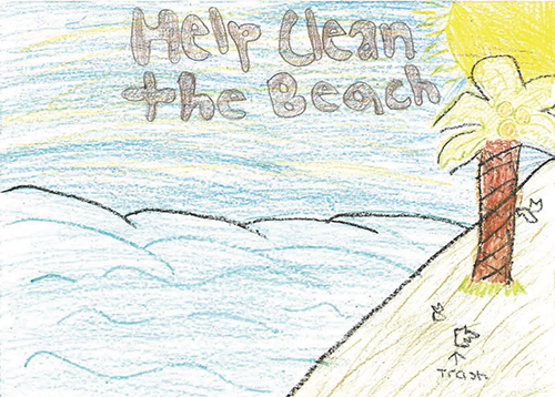 The cover of the Help Clean Up The Beach, a child's drawing, shows some trash on the beach.