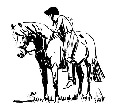 Illustration of a girl dismounting a horse. Her feet are out of the stirrups, and she is holding the rein in one hand while she lowers herself to the ground.