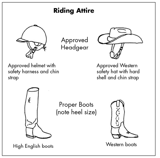 Illustration of proper riding attire. Approved headgear includes either a helmet with a safety harness and chin strap or a Western safety hat with a hard shell and a chin strap. Proper boots include high English boots, which have a slight heel and go up the shin, or Western boots, which have a higher heel and pointier toe than the high English boots but do not go as far up the shin.