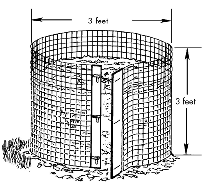 A cylindrical compost bin measuring 3 feet tall by 3 feet in diameter.