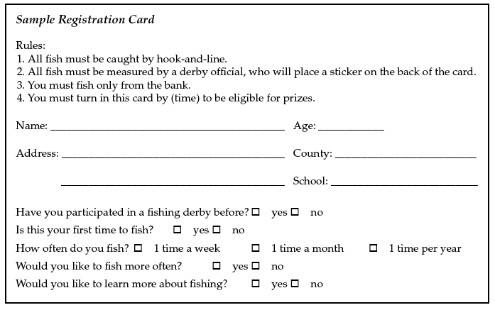 This is a sample registration card used for a fishing derby.