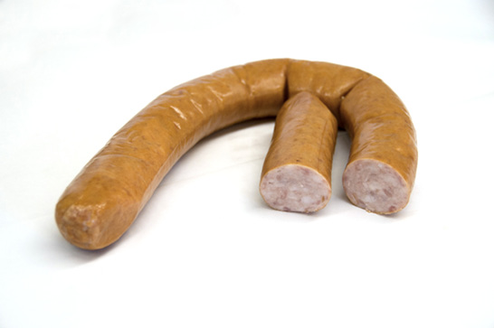 A sausage link cut in half to show the inside.