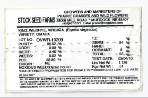 Figure 2. Example seed label.