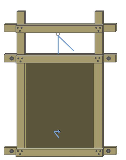 Diagram of a wooden guillotine or sliding drop-style door.