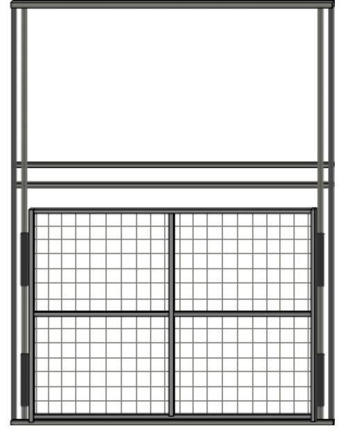 Diagram of a steel sliding drop-style door.