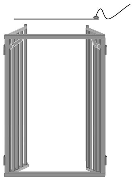 Diagram of a spring-loaded double door described in text.