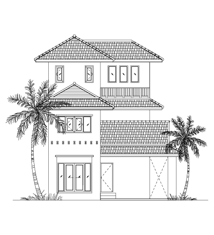 An illustration of a house with a tall palm tree at about the same height as the second-story roof on one side and a smaller palm at about the same height as the first-story roof on the other side.