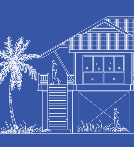 An illustration of a house with a tall palm tree at about the same height as the balcony and roof.