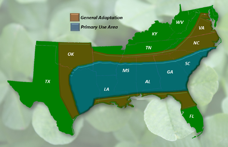 Map indicating the general adaptation and primary use of cool-season, annual clovers planted in the fall in the southern U.S. Adapted from Ball and Lacefield, 2000.
