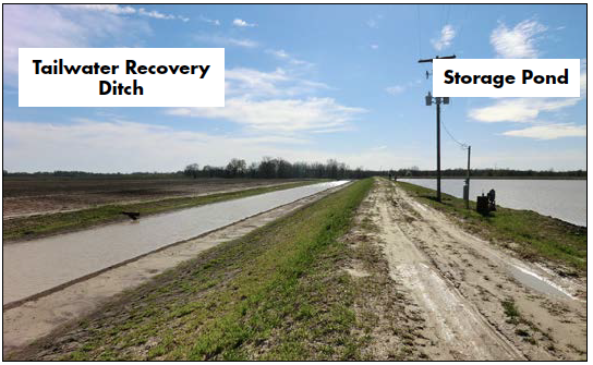 An on-farm water storage system typically consists of a pond and a tailwater recovery canal.