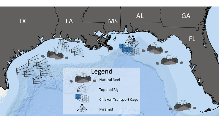 Map shows parts of Texas, Louisiana, Mississippi, Alabama, Georgia, and Florida, and the Gulf of Mexico below those states. The legend indicates the following habitat types: toppled rig and natural reef below Texas; toppled rig below Louisiana; chicken transport cage below Mississipi and Alabama; natural reefs below and to the west of Florida.