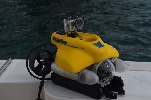 A remotely operated vehicle (ROV) resting on a boat with the ocean in the background. The ROV is a small, motorized device with an action camera mounted on top.