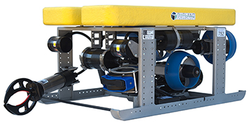 A remotely operated vehicle. It is a small device with motors that propel it through the water and a camera that records underwater video.
