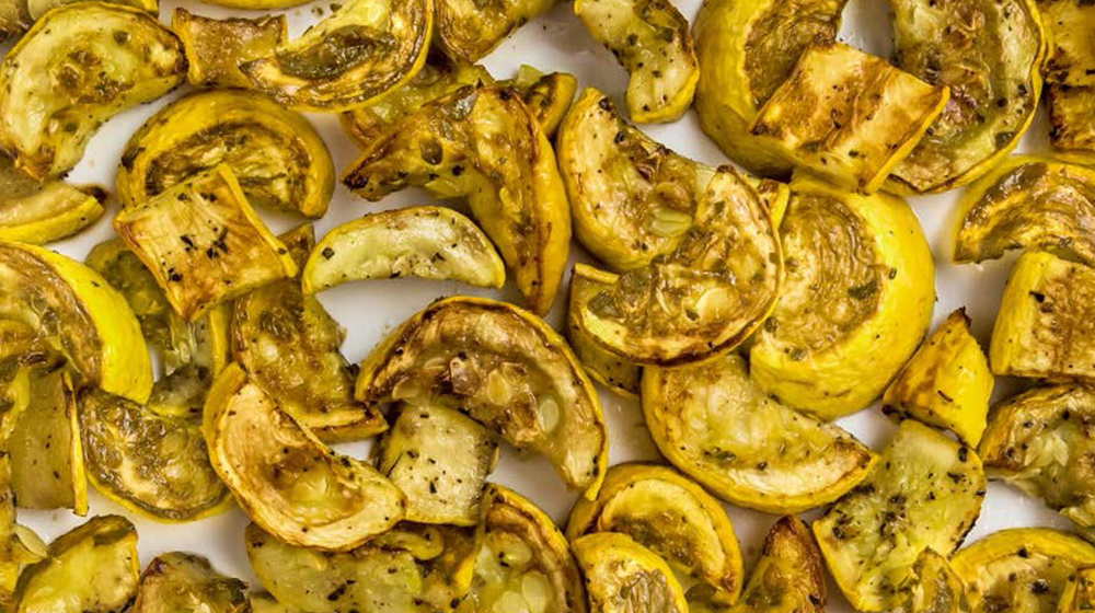 Sliced and roasted yellow squash.