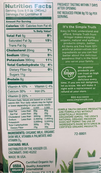 A nutrition facts label for an 8-ounce container of organic milk.