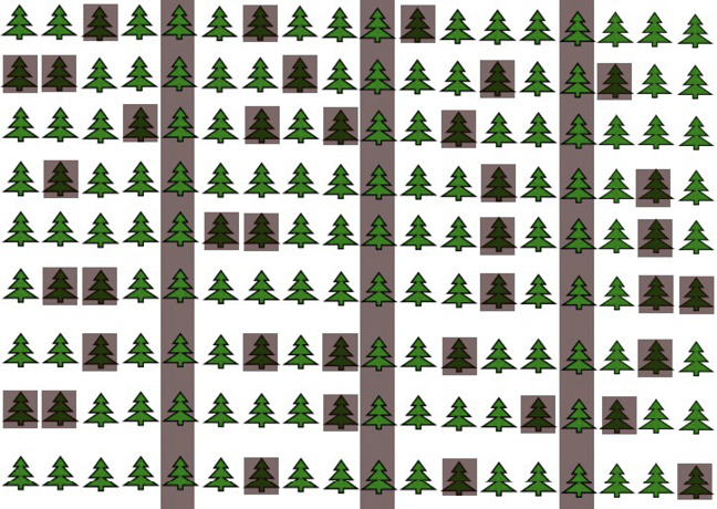 Diagram of rows of trees with every fifth row shaded and additional between-row trees shaded.