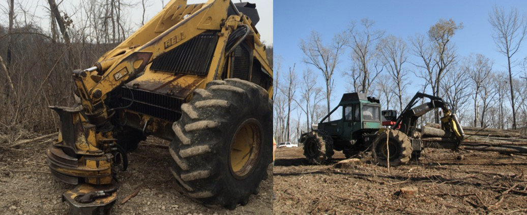 Two pieces of logging equipment designed to be used in plantations.