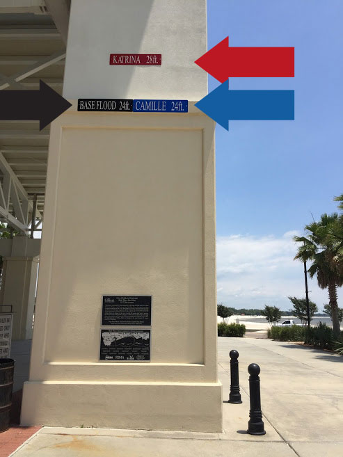 A close up of the pavilion entry arch with signs indicating the high water marks from Hurricanes Camille and Katrina and the base flood elevation.