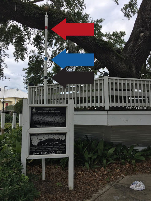 A pole beside a seating area with signs indicating the high water marks from Hurricanes Camille and Katrina and the base flood elevation. The high water mark plaques are in front of the pole.