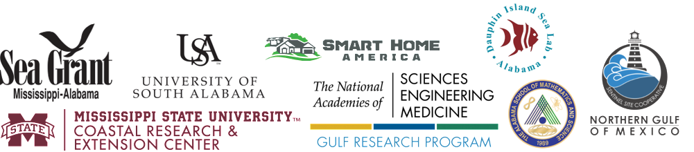 Partner logos: Mississippi-Alabama Sea Grant; University of South Alabama; Mississippi State University Coastal Research and Extension Center; Smart Home America; National Academies of Sciences, Engineering, and Medicine Gulf Research Program; Dauphin Island Sea Lab; Alabama School of Mathematics and Science; Northern Gulf of Mexico Sentinel Site Cooperative.