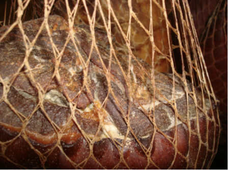 A ham in a hanging net with tiny, white dots that are mites.