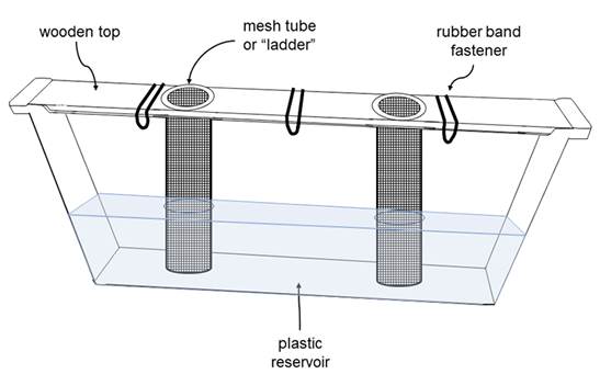"Diagram of a division board feeder with labels for the wooden top, mesh tube ""ladders,"" rubber band fasteners, and the plastic reservoir, all described in the caption."