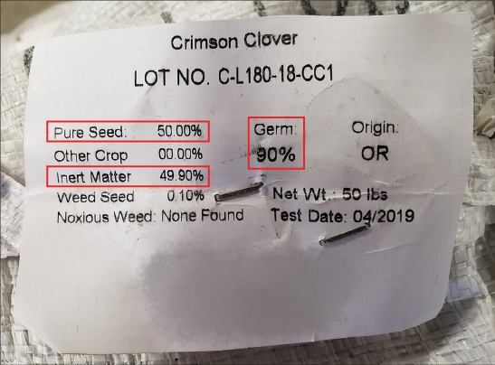 A seed label for Crimson Clover with boxes highlighting that the bag contains 50 percent pure seed and 49.90 percent inert matter, and that the germination rate is 90 percent.