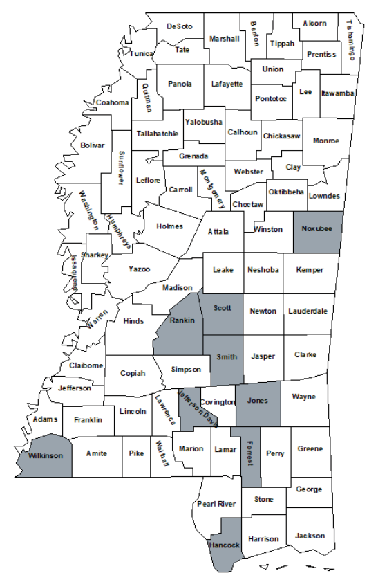 Counties that participated in the Southern Producers Replacement Heifer Sale program include Noxubee County, Rankin County, Smith County, Scott County, Jones County, Jefferson Davis County, Forrest County, Wilkinson County, and Hancock County.