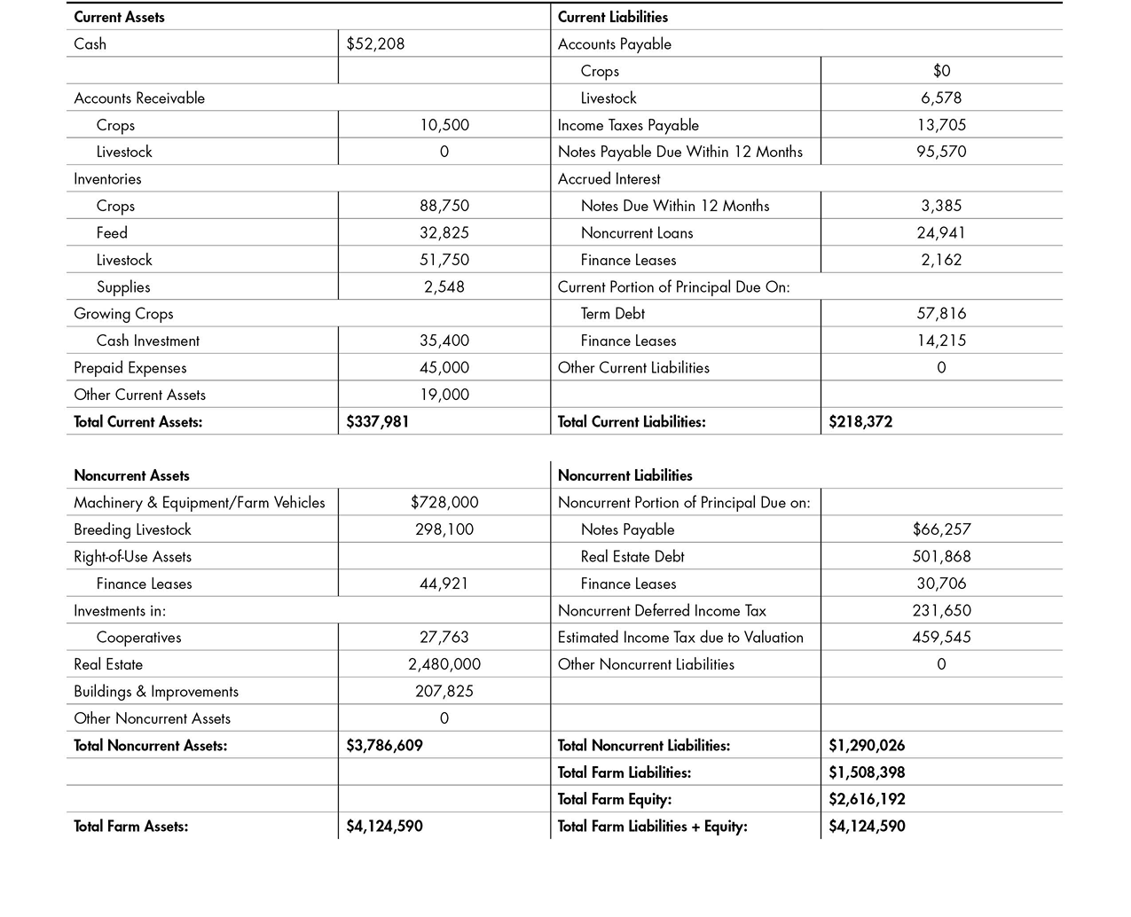 This balance sheet example outlines sample assets and liabilities to calculate the total liabilities and equity for a farm.