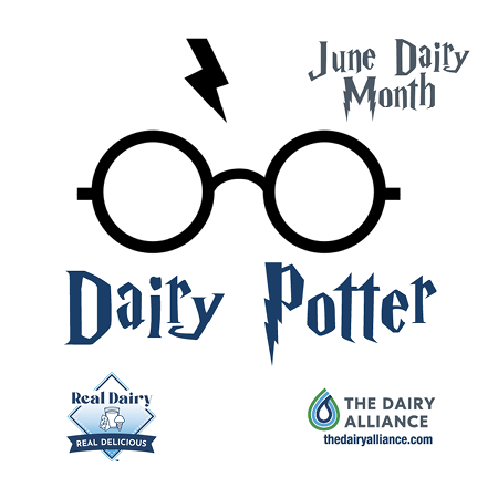 """Graphic for the 2021 Dairy Poster contest. The theme is """"Dairy Potter"""" and features wire-rimmed glasses and a lightning-bolt scar, reminiscent of Harry Potter. Logos on the graphic include Real Dairy, Real Delicious and The Dairy Alliance."""