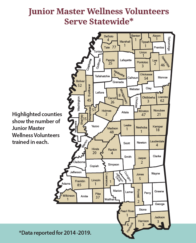 MS map with counties highlighted and the number of Junior Master Wellness Volunteers trained in each. The data is available in a Word document linked in the text below.