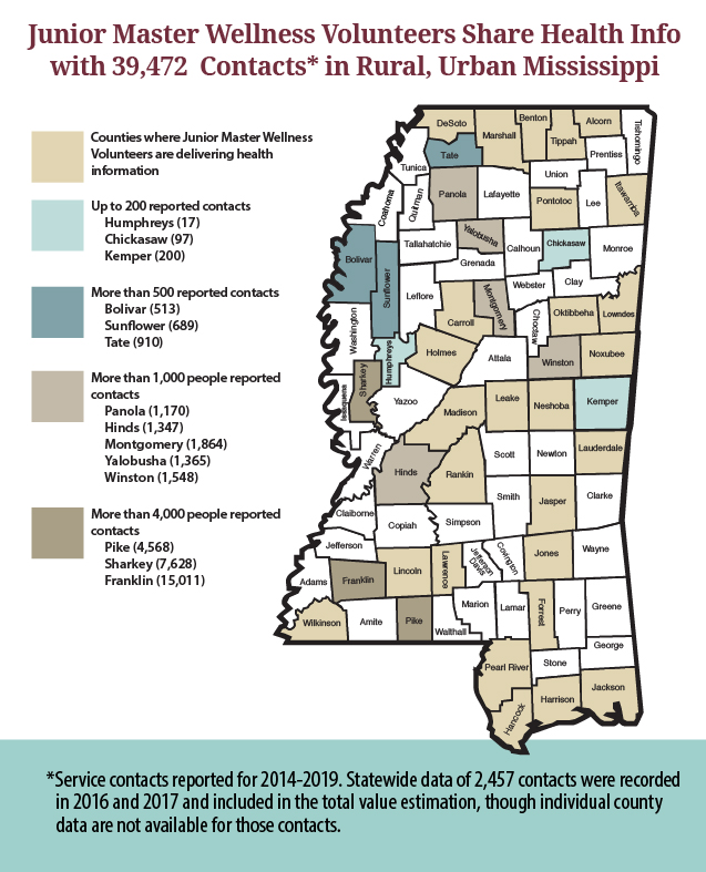 Map of Mississippi counties showing 39,472 contacts in rural and urban areas reported for 2014-2019. The data is available in a Word document linked in the text below.