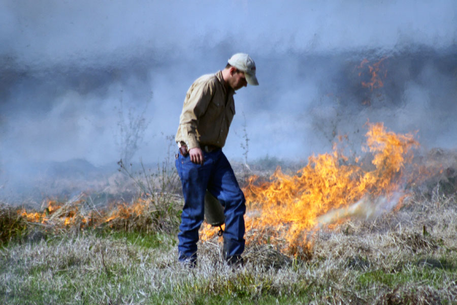 a man in field managing a fire